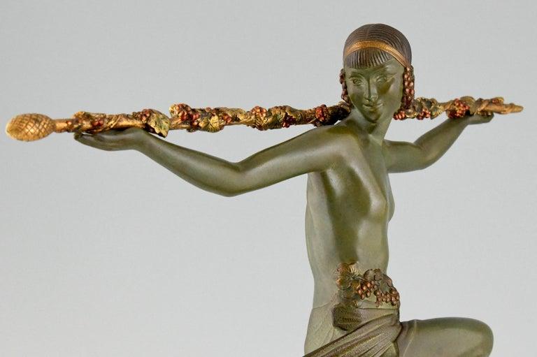 Art Deco Bronze Sculpture Nude Dancer with Thyrsus Pierre Le Faguays, 1930 For Sale 4