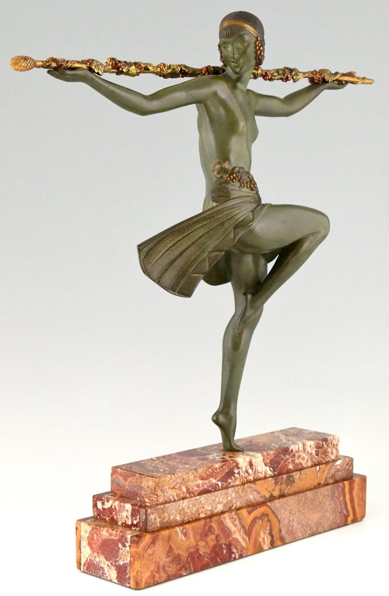 French Art Deco Bronze Sculpture Nude Dancer with Thyrsus Pierre Le Faguays, 1930 For Sale