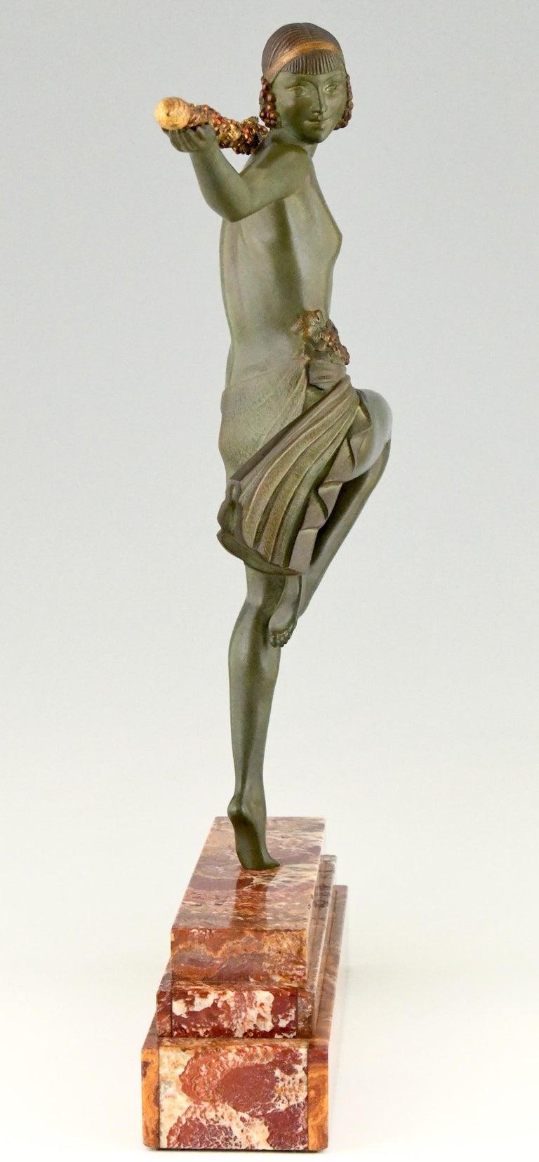 Patinated Art Deco Bronze Sculpture Nude Dancer with Thyrsus Pierre Le Faguays, 1930 For Sale