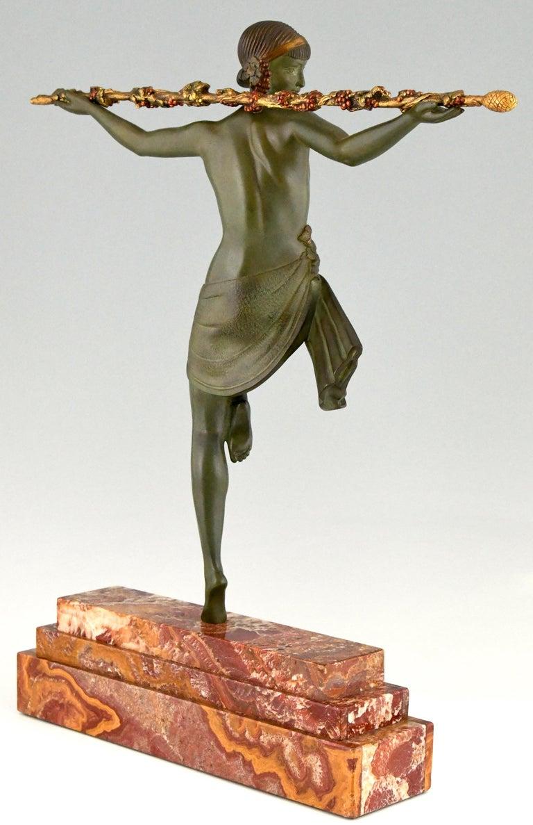 Art Deco Bronze Sculpture Nude Dancer with Thyrsus Pierre Le Faguays, 1930 In Good Condition For Sale In Antwerp, BE