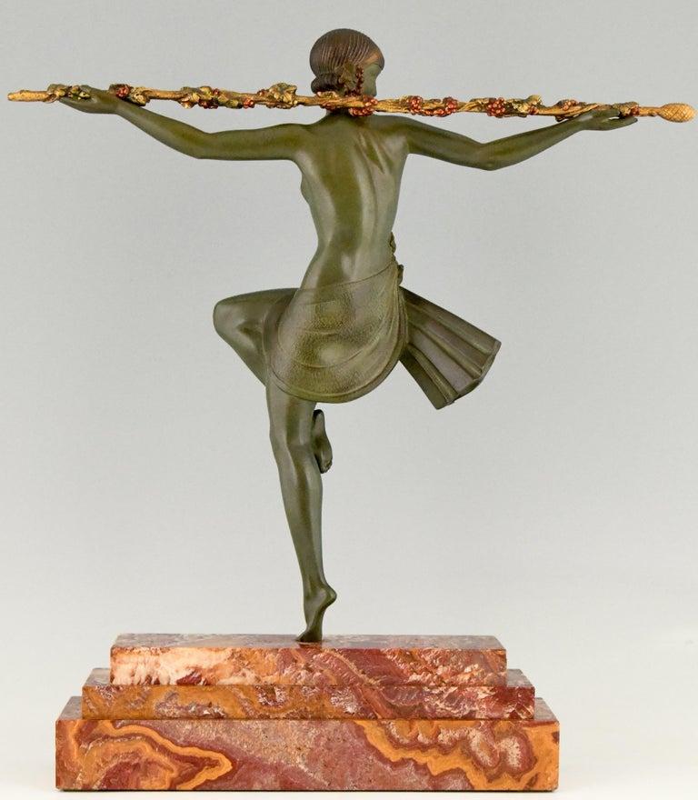 Mid-20th Century Art Deco Bronze Sculpture Nude Dancer with Thyrsus Pierre Le Faguays, 1930 For Sale