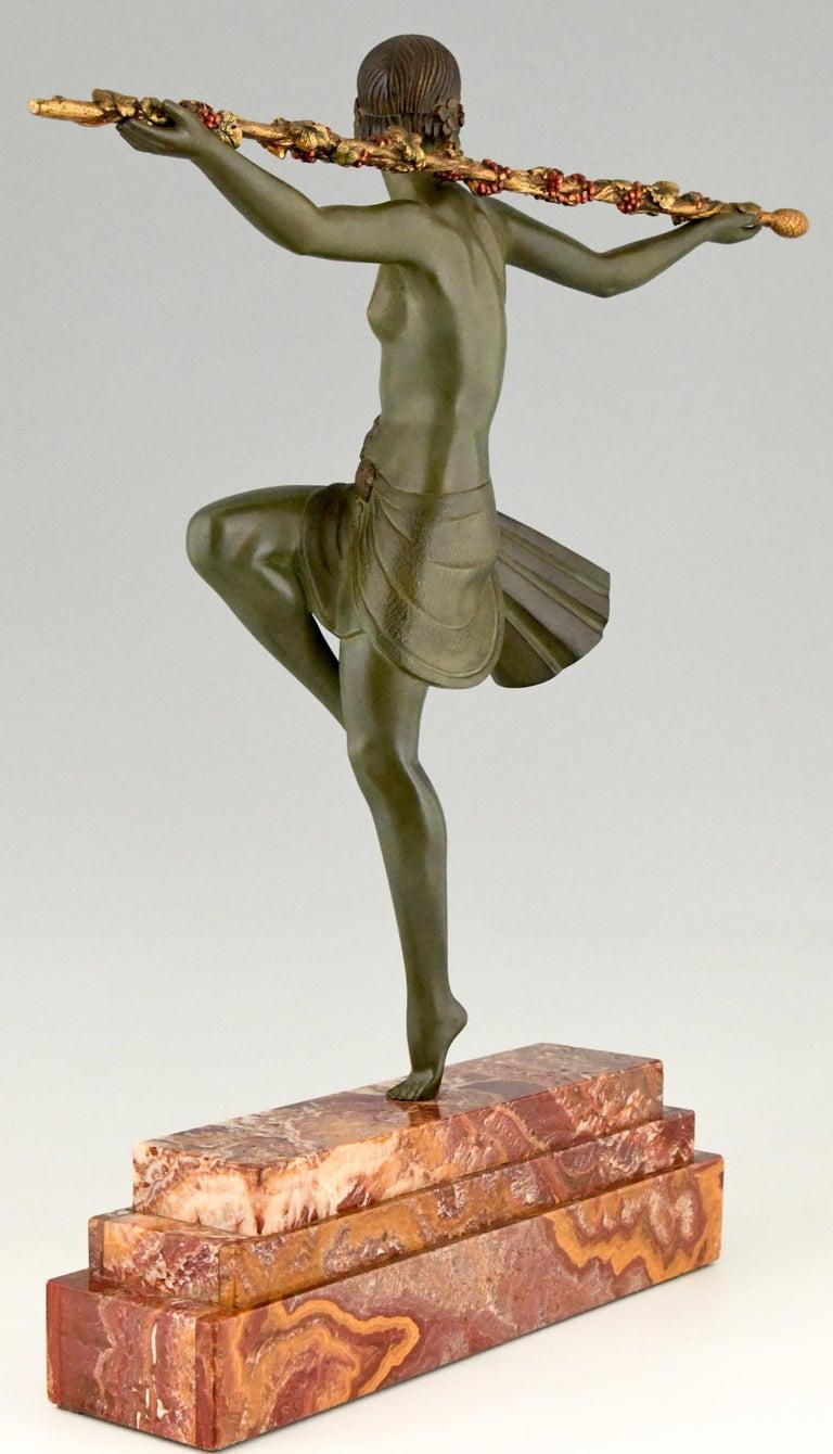 Marble Art Deco Bronze Sculpture Nude Dancer with Thyrsus Pierre Le Faguays, 1930 For Sale