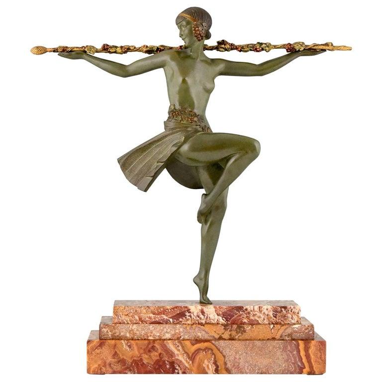 Art Deco Bronze Sculpture Nude Dancer with Thyrsus Pierre Le Faguays, 1930 For Sale