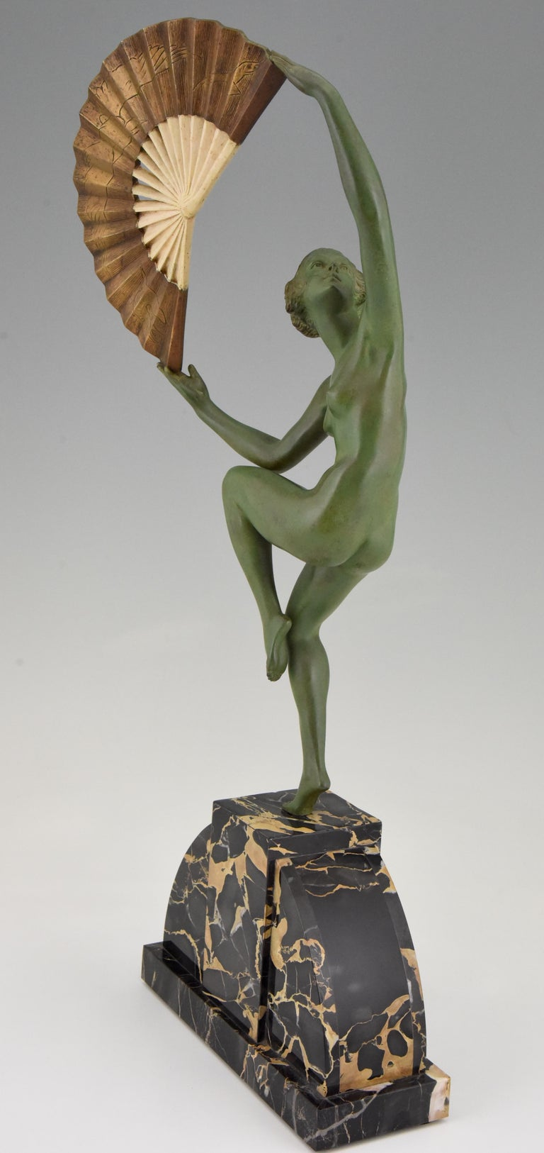 French Art Deco Bronze Sculpture Nude Fan Dancer Marcel Andre Bouraine, France, 1925 For Sale