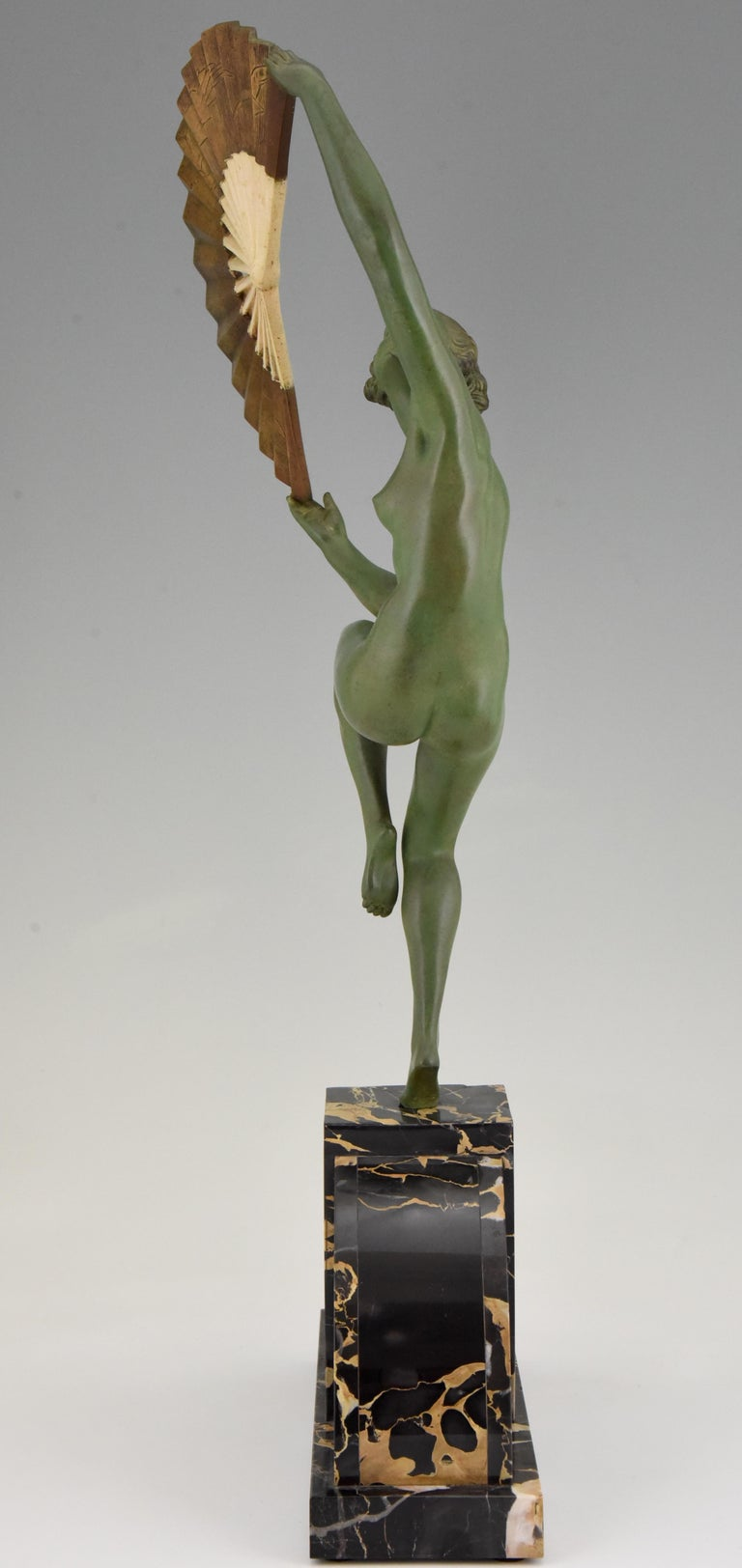 Patinated Art Deco Bronze Sculpture Nude Fan Dancer Marcel Andre Bouraine, France, 1925 For Sale