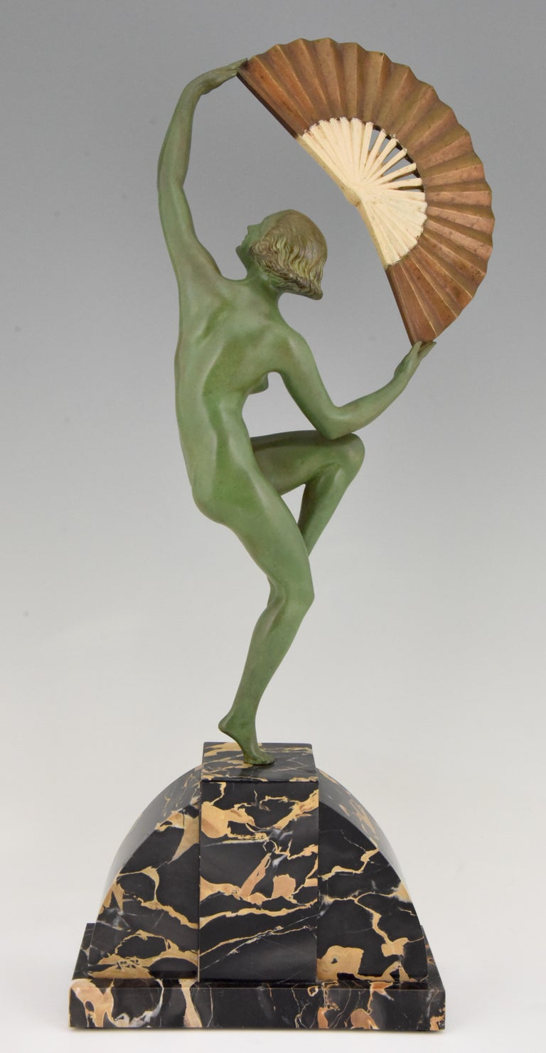 Art Deco Bronze Sculpture Nude Fan Dancer Marcel Andre Bouraine, France, 1925 In Good Condition For Sale In Antwerp, BE