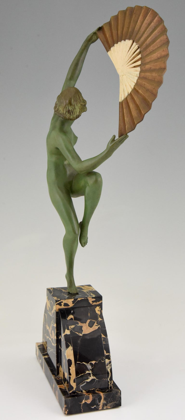 Early 20th Century Art Deco Bronze Sculpture Nude Fan Dancer Marcel Andre Bouraine, France, 1925 For Sale