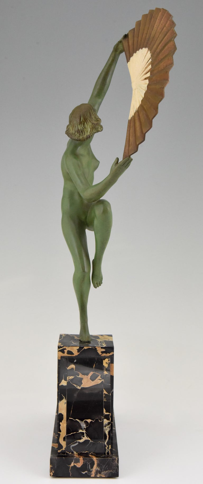 Art Deco Bronze Sculpture Nude Fan Dancer Marcel Andre Bouraine, France, 1925 For Sale 1