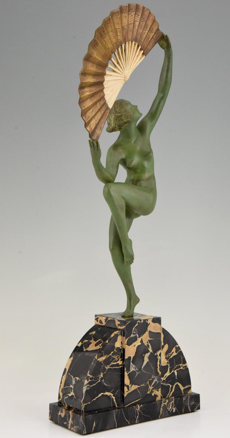 Art Deco Bronze Sculpture Nude Fan Dancer Marcel Andre Bouraine, France, 1925 For Sale 2