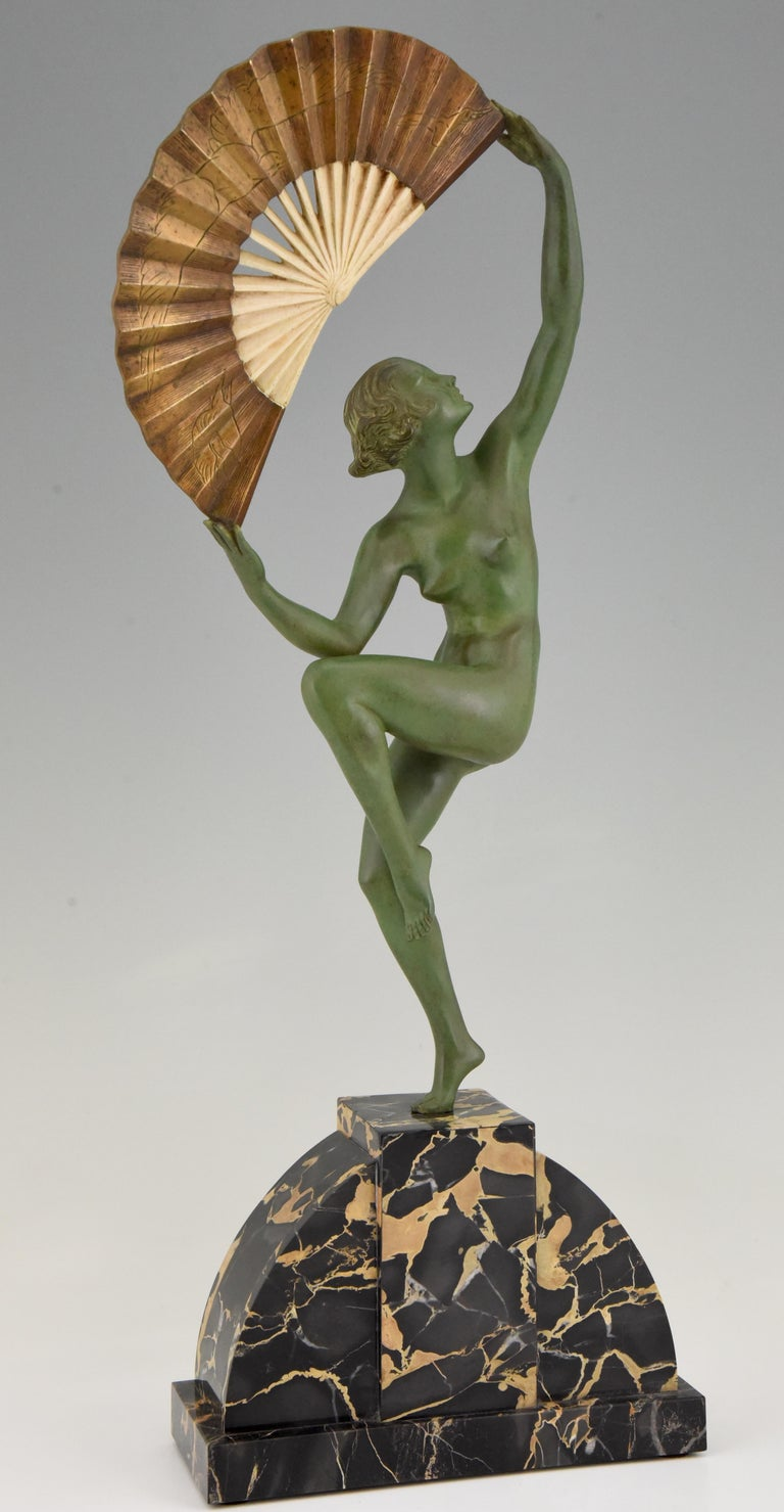 Art Deco Bronze Sculpture Nude Fan Dancer Marcel Andre Bouraine, France, 1925 For Sale 3