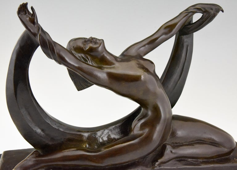 Art Deco Bronze Sculpture Nude Lady, Scarf Dancer by G. Ninin, France, 1925 For Sale 3