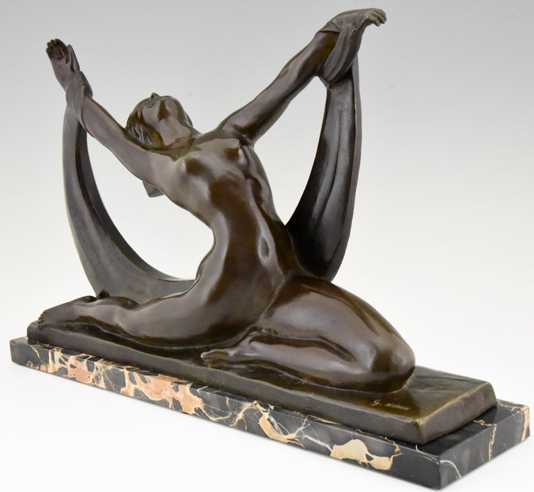 French Art Deco Bronze Sculpture Nude Lady, Scarf Dancer by G. Ninin, France, 1925 For Sale