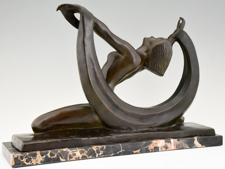 Art Deco Bronze Sculpture Nude Lady, Scarf Dancer by G. Ninin, France, 1925 In Good Condition For Sale In Antwerp, BE
