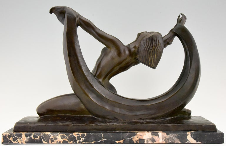 Early 20th Century Art Deco Bronze Sculpture Nude Lady, Scarf Dancer by G. Ninin, France, 1925 For Sale