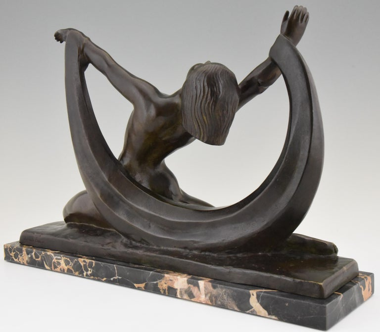 Marble Art Deco Bronze Sculpture Nude Lady, Scarf Dancer by G. Ninin, France, 1925 For Sale
