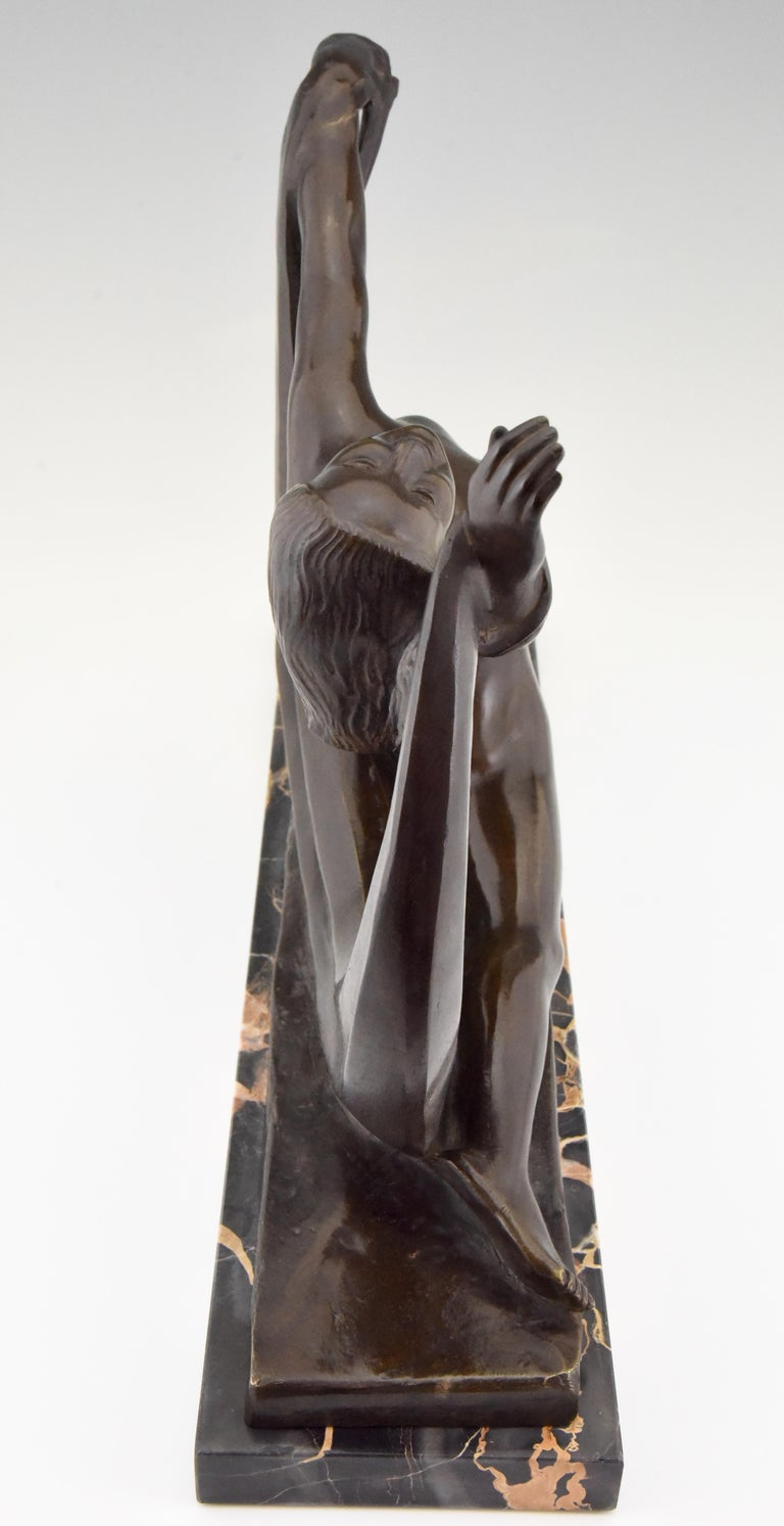 Art Deco Bronze Sculpture Nude Lady, Scarf Dancer by G. Ninin, France, 1925 For Sale 1
