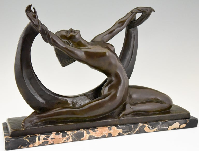 Art Deco Bronze Sculpture Nude Lady, Scarf Dancer by G. Ninin, France, 1925 For Sale 2