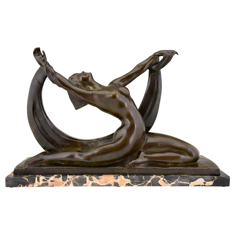 Art Deco Bronze Sculpture Nude Lady, Scarf Dancer by G. Ninin, France, 1925 For Sale