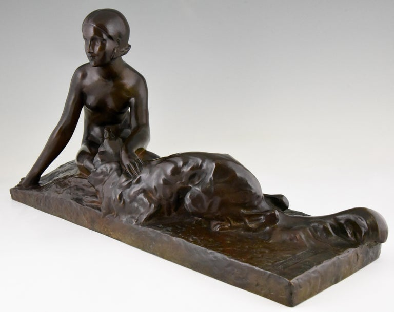 French Art Deco Bronze Sculpture Nude with Borzoi Dog by Georges Coste France 1930 For Sale