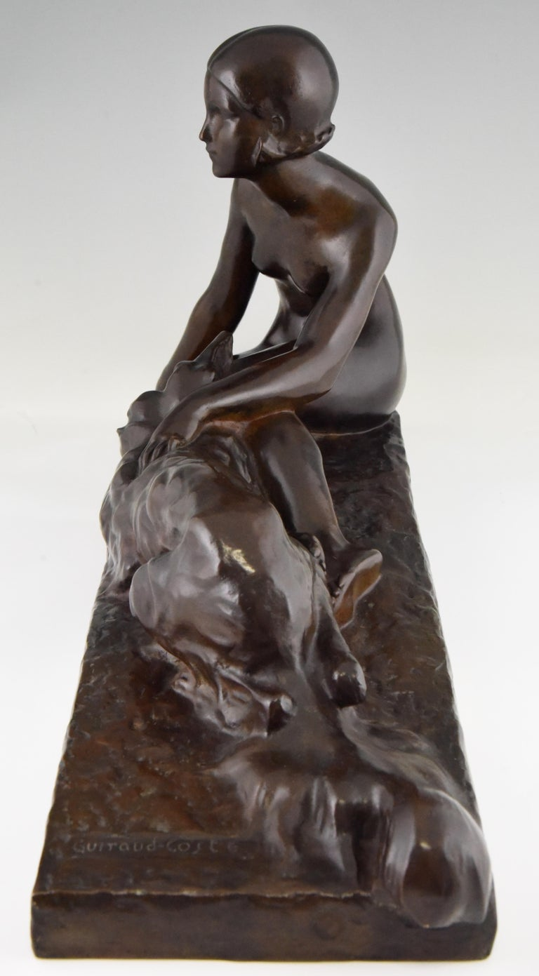 Patinated Art Deco Bronze Sculpture Nude with Borzoi Dog by Georges Coste France 1930 For Sale