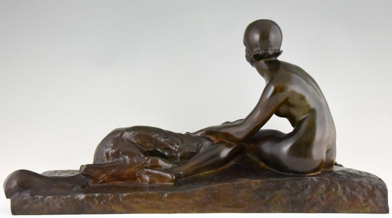 Art Deco Bronze Sculpture Nude with Borzoi Dog by Georges Coste France 1930 In Good Condition For Sale In Antwerp, BE