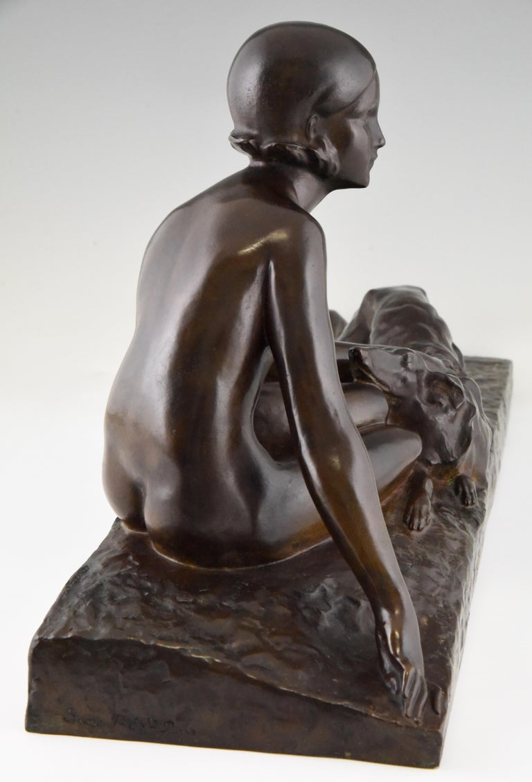 Mid-20th Century Art Deco Bronze Sculpture Nude with Borzoi Dog by Georges Coste France 1930 For Sale