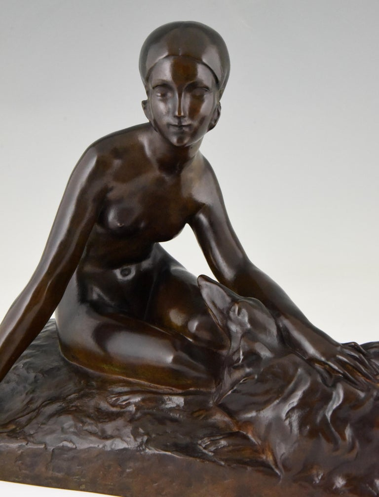 Art Deco Bronze Sculpture Nude with Borzoi Dog by Georges Coste France 1930 For Sale 2