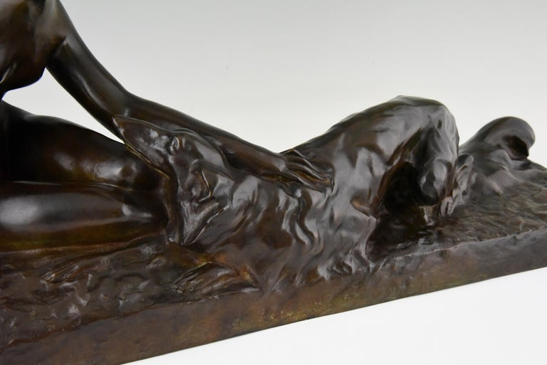 Art Deco Bronze Sculpture Nude with Borzoi Dog by Georges Coste France 1930 For Sale 3