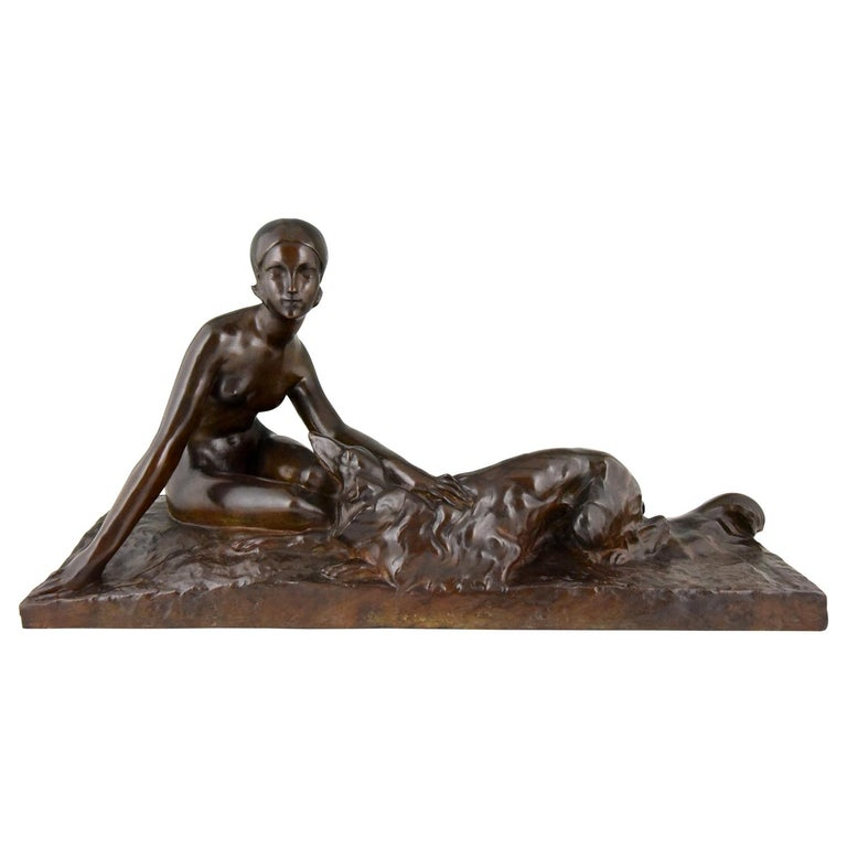 Art Deco Bronze Sculpture Nude with Borzoi Dog by Georges Coste France 1930 For Sale