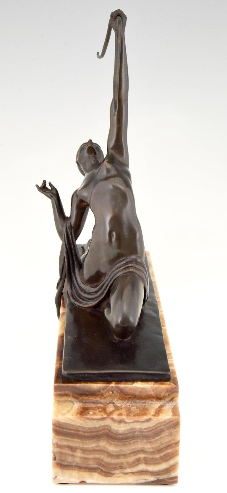 Amazone, Art Deco Bronze Sculpture Female Nude Warrior by