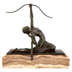 Art Deco Bronze Sculpture Nude with Bow Diana Marcel Andre Bouraine, 1920