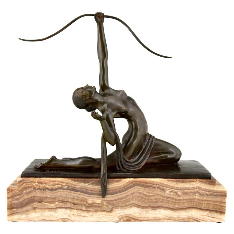Art Deco Bronze Sculpture Nude with Bow Diana Marcel Andre