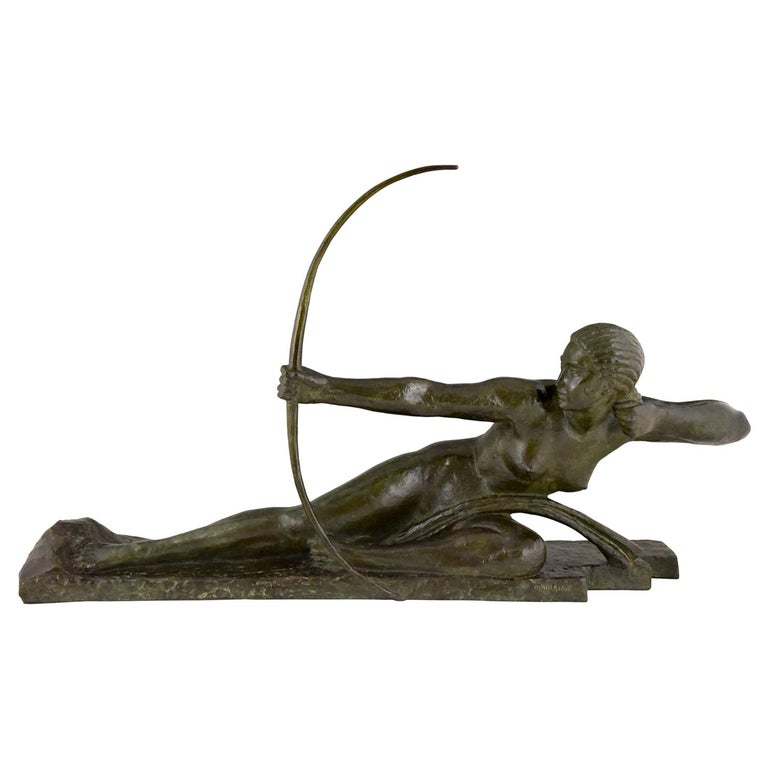 Art Deco Bronze Sculpture Nude with Bow Penthesilia by Bouraine, France, 1930 For Sale