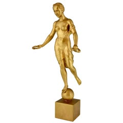 Art Deco bronze sculpture nude with laurel wreaths Hanna Cauer 1934