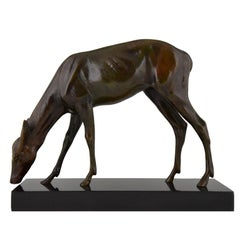 Art Deco Bronze Sculpture of a Female Deer Louis Riche, France, 1920
