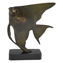 Art Deco Bronze Sculpture of a Fish by Luc on Marble Base, France 1930