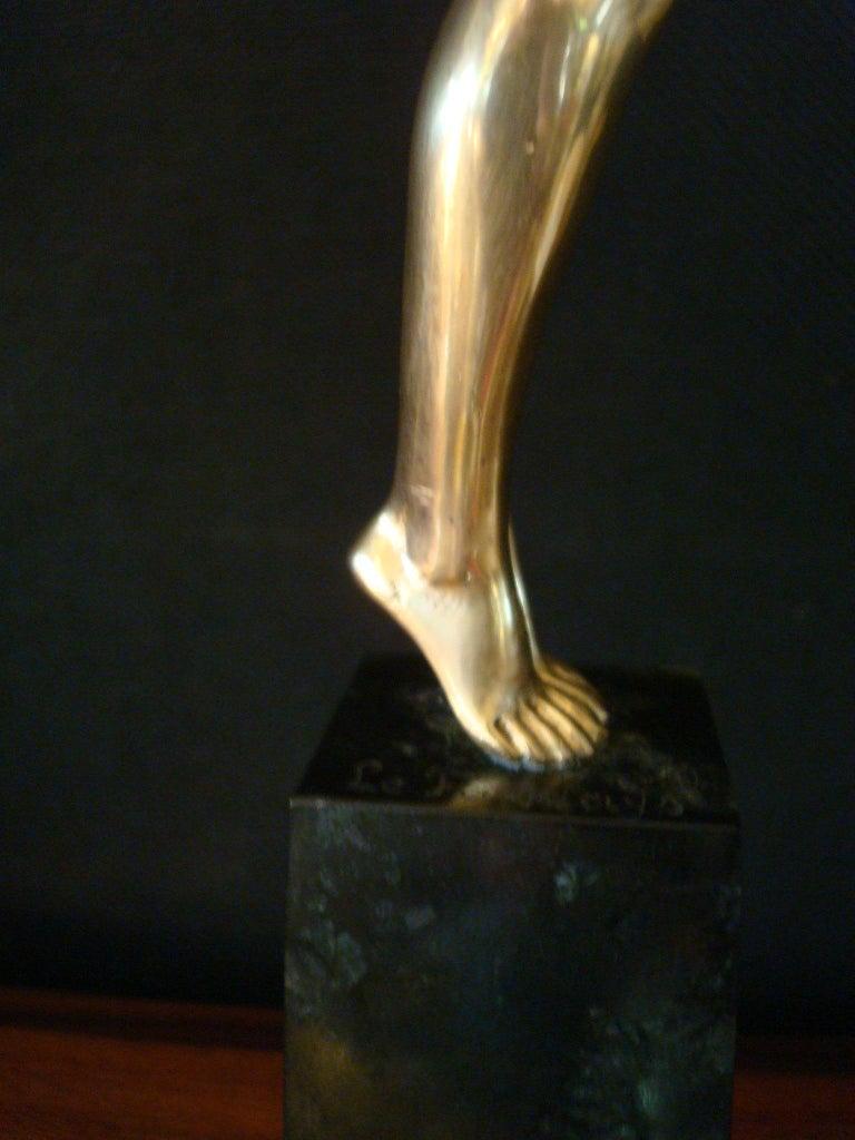 Art Deco Bronze Sculpture of a Nude Figure Holding a Dove by Pierre Le Faguays For Sale 4