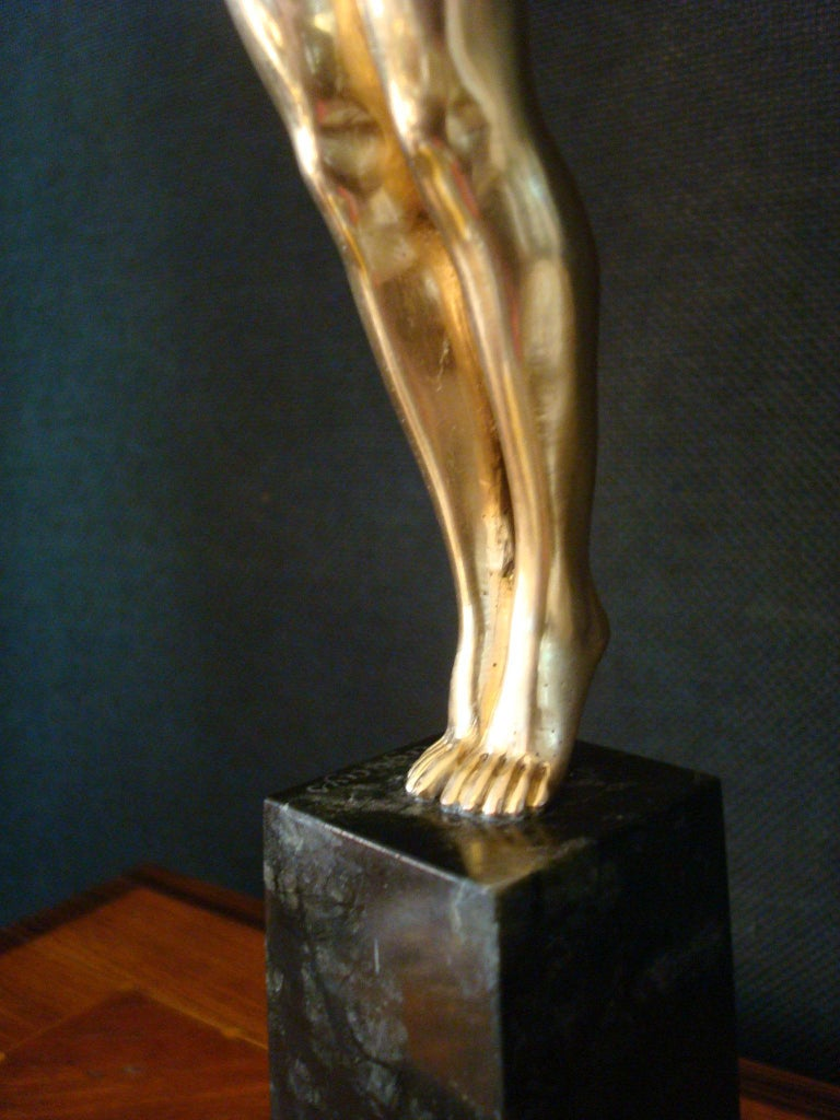 Art Deco Bronze Sculpture of a Nude Figure Holding a Dove by Pierre Le Faguays For Sale 5