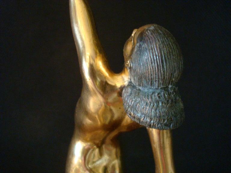 Art Deco Bronze Sculpture of a Nude Figure Holding a Dove by Pierre Le Faguays For Sale 8