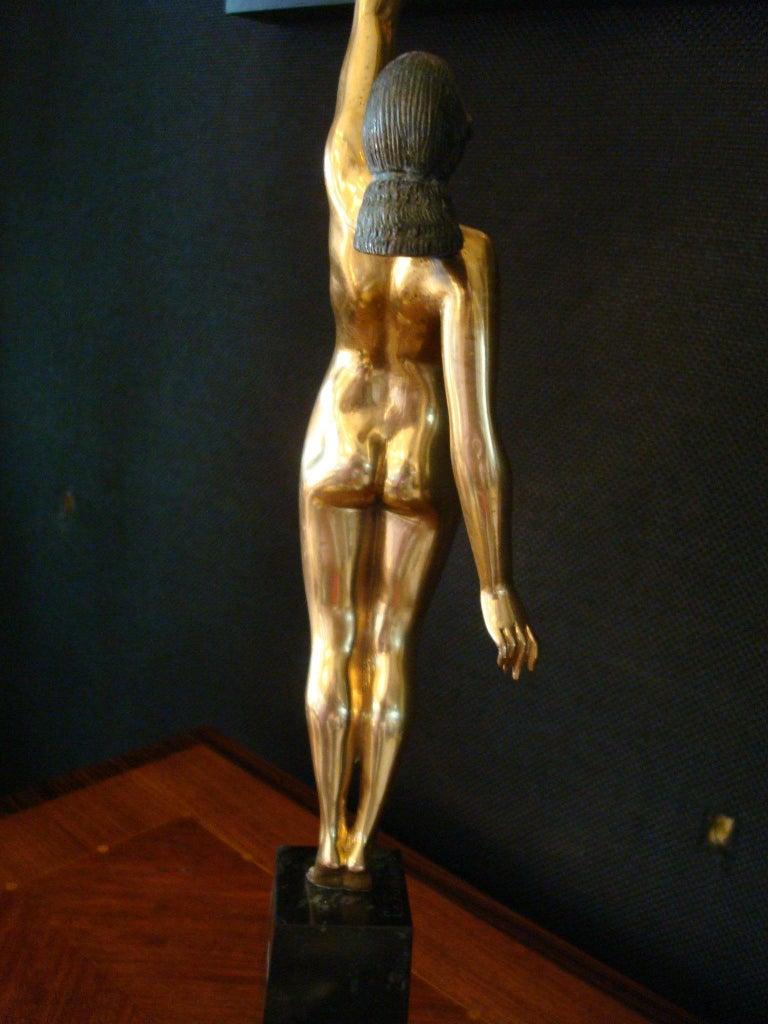 Art Deco Bronze Sculpture of a Nude Figure Holding a Dove by Pierre Le Faguays For Sale 9