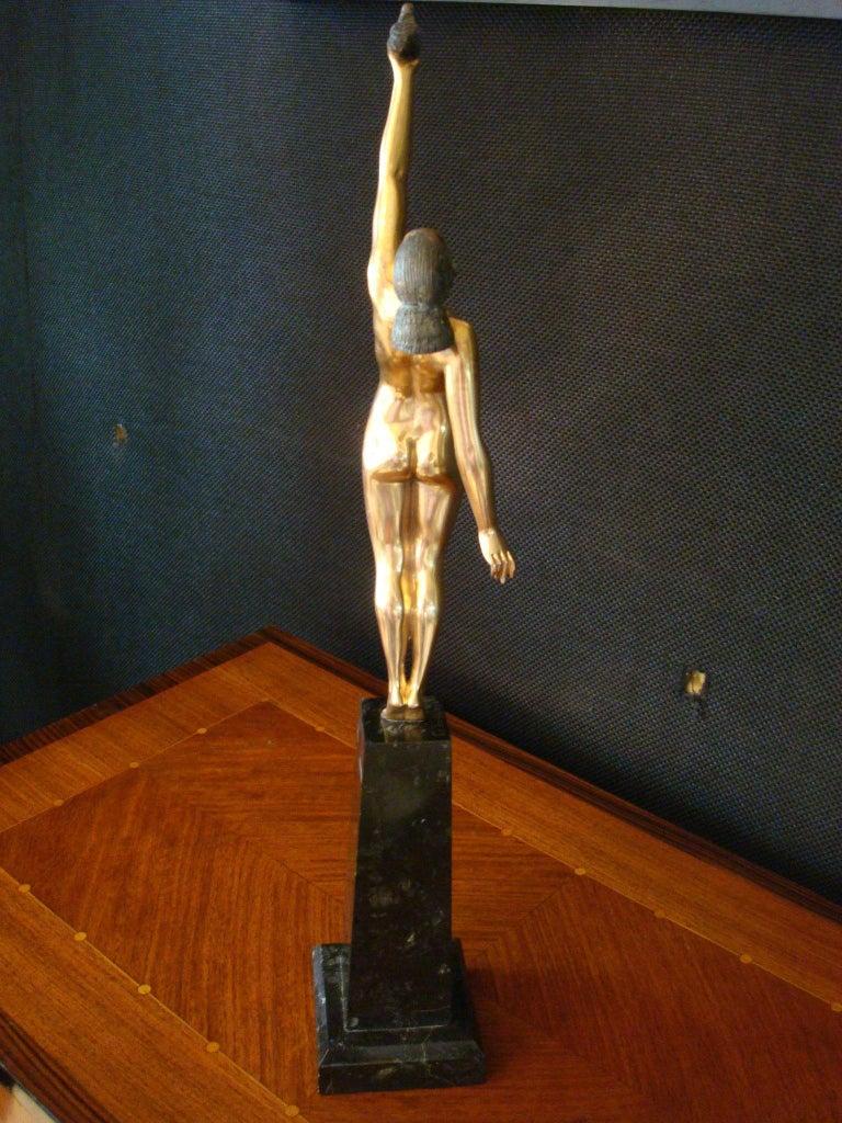 Art Deco Bronze Sculpture of a Nude Figure Holding a Dove by Pierre Le Faguays For Sale 10