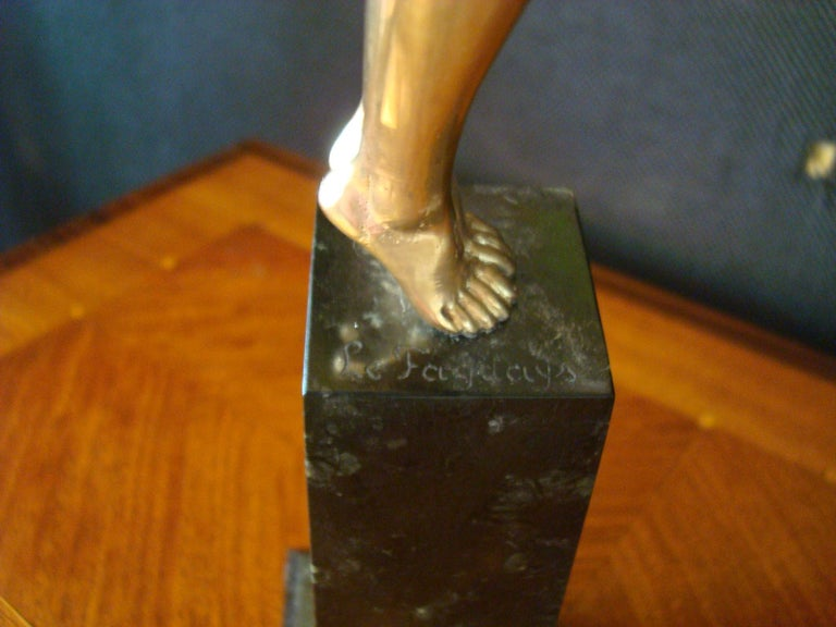 Art Deco Bronze Sculpture of a Nude Figure Holding a Dove by Pierre Le Faguays For Sale 11