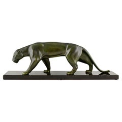 Art Deco Bronze Sculpture of a Panther by Matthias Gonzales, France, 1930