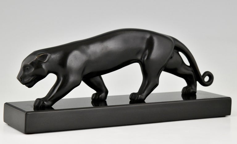 Art Deco Bronze Sculpture of a Panther Lucien Alliot, France, 1925 In Good Condition For Sale In Antwerp, BE
