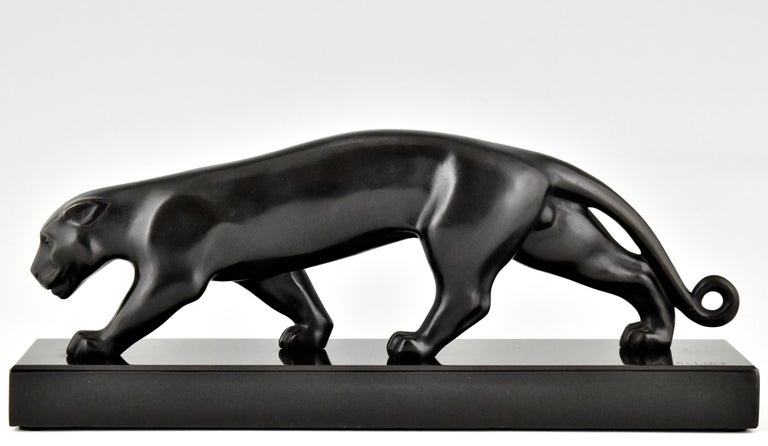 Early 20th Century Art Deco Bronze Sculpture of a Panther Lucien Alliot, France, 1925 For Sale