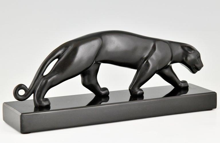 Art Deco Bronze Sculpture of a Panther Lucien Alliot, France, 1925 For Sale 3