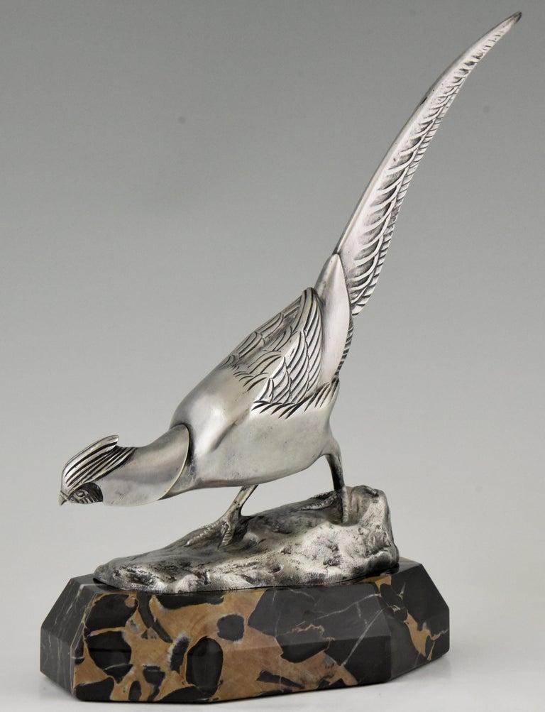 Art Deco Bronze Sculpture of a Pheasant Irenée Rochard, 1920 In Good Condition For Sale In Antwerp, BE