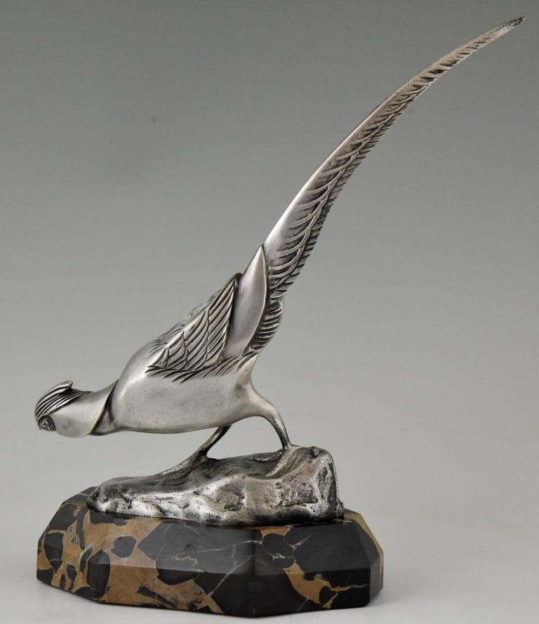 Early 20th Century Art Deco Bronze Sculpture of a Pheasant Irenée Rochard, 1920 For Sale