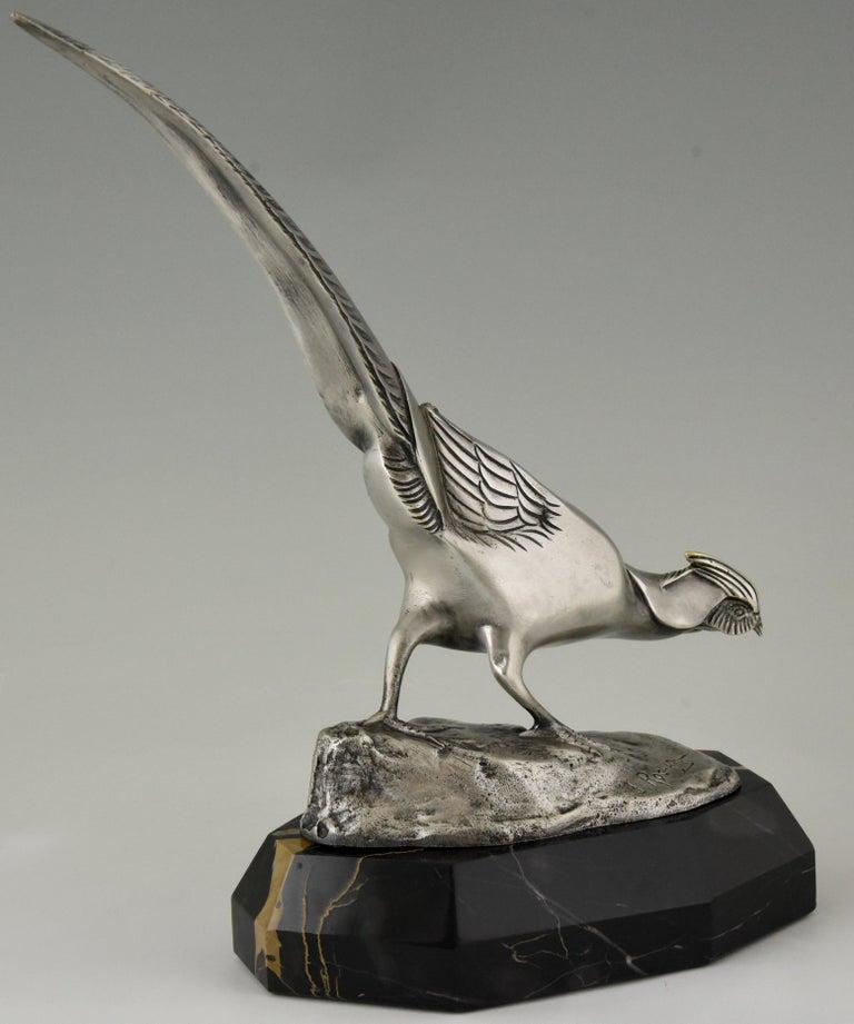 Art Deco Bronze Sculpture of a Pheasant Irenée Rochard, 1920 For Sale 2