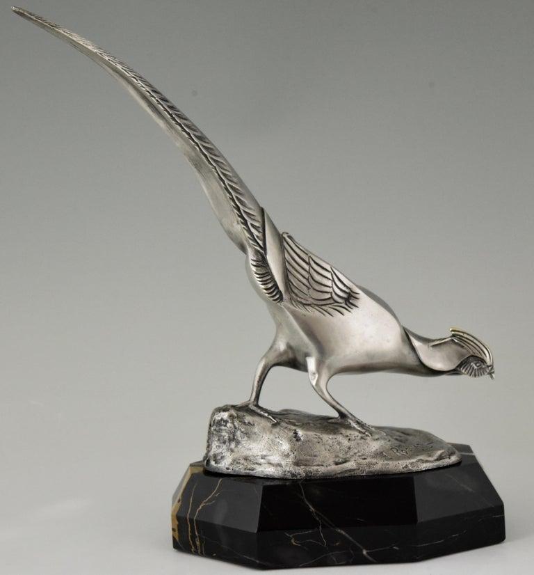 Art Deco Bronze Sculpture of a Pheasant Irenée Rochard, 1920 For Sale 3